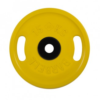 Диски обрезиненные MB Barbell евро-классик с ручками 15 кг 50 мм, желтый