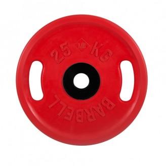 Диски обрезиненные MB Barbell евро-классик с ручками 25 кг 50 мм,красный
