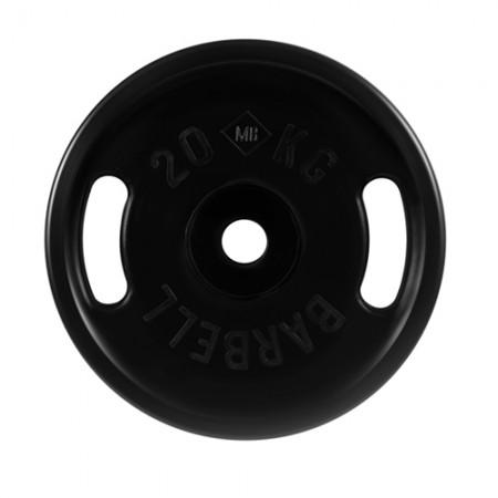 Диски обрезиненные MB Barbell евро-классик с ручками 20 кг 50 мм,черный