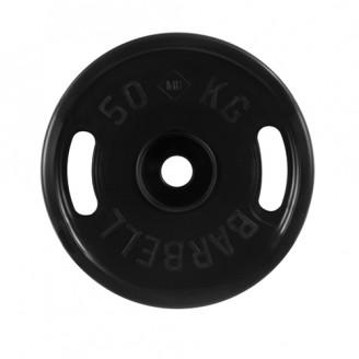 Диски обрезиненные MB Barbell евро-классик с ручками 50 кг 50 мм,черный