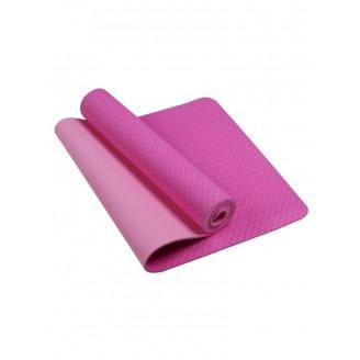 Коврик для йоги и фитнеса 6 мм TPE, розовый