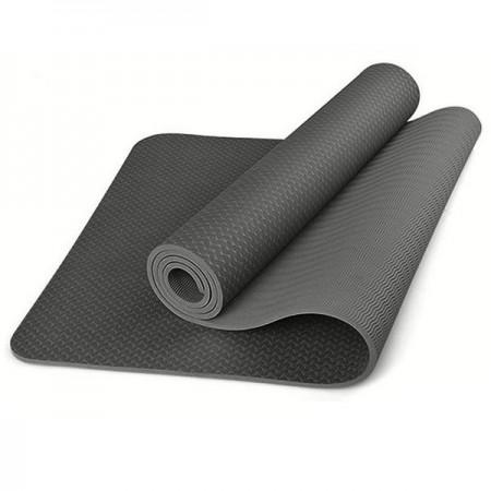 Коврик для йоги и фитнеса 6 мм TPE, черный